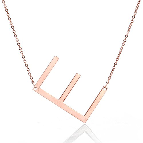 Fairy Whisper Stainless Steel Rose Gold Initial Alphabet A-Z Pendant Necklace ()