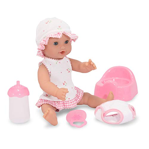 "Melissa & Doug Mine to Love Annie 12-Inch Drink & Wet Doll, Pretend Play,  Poseable Baby Doll, Charming Clothing & Accessories, 9 75"" H x 10 5"" W x"