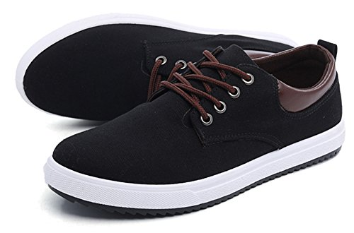 Aisun Mens Trendy Comfy Lace Up Canvas Shoes Sneakers Black 1KuHt