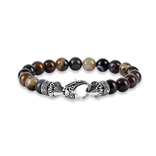 Multi Color Agate Bracelet - Men's Stainless Steel Multi Color Agate Bracelet, 9