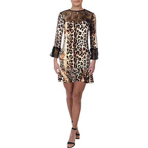Just Cavalli Women's Animal Print Lace Dress, Natural Variant, 36