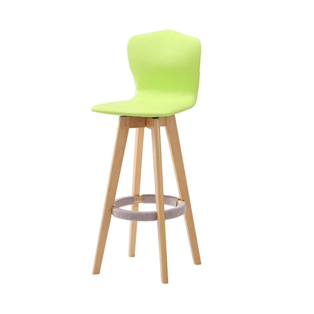 Green Wood Barstool- High redatable Backrest Chair Creative Coffee Shop Bar Stool Restaurant High Chair Bar Chair Club House Leisure Chair JINRONG (color   White)