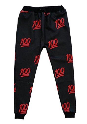 Easy Mens' Emoji 100 Score Joggers 3D Printed Sweatpants Black M
