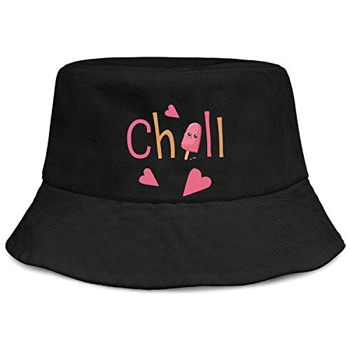 Unisex Bucket Hat Ice Cream Chill Cool Heart Mesh Hat for Mens' Womens' Outdoor Sports Cotton