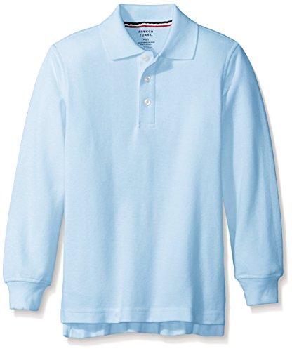 French Toast Little Boys' Long-Sleeve Pique Polo Shirt, Light Blue,