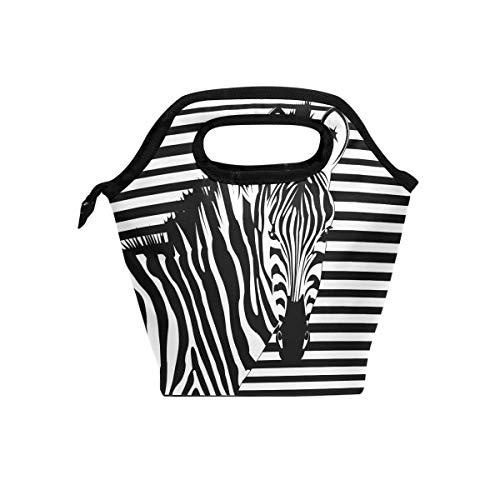- WXLIFE Animal Zebra Print Insulated Zipper Lunch Box Bag, Cooler Lunch Tote Bag Lunchbox for Boys Girls Kids Women Men Adult