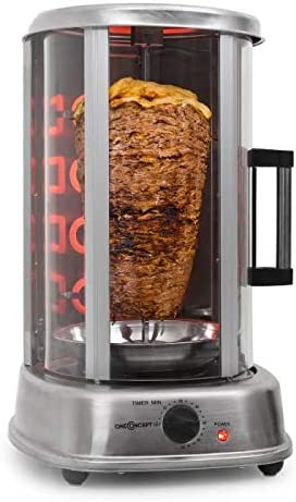 oneConcept Kebab Master Pro - Parrilla vertical giratoria, Pollo, Gyros, Pincho giratorio verical, Grill eléctrico, 1500 W, Reparto calor 360°, Desmontable y apto para lavavajillas, Plateado