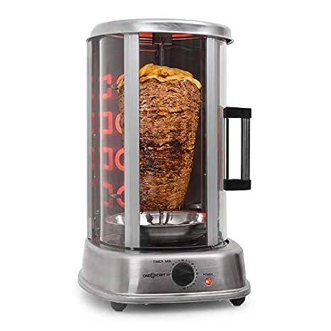 oneConcept Kebab Master Pro - Parrilla vertical giratoria , Pollo , Gyros , Pincho giratorio verical , Grill eléctrico , 1500 W , Reparto calor 360° , ...