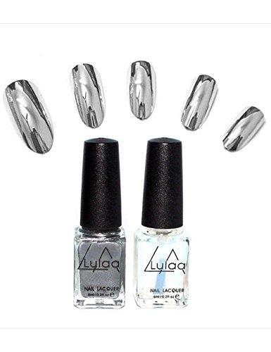Nail Polish Set,POTO 2pcs Mirror Silver Color Plating Nail Enamel UV Gel Nail Shiny Lacquer Nail Art Manicure Varnish Soak Base Coat Gift Nail-varnish Kit - Mirror Silver Spa