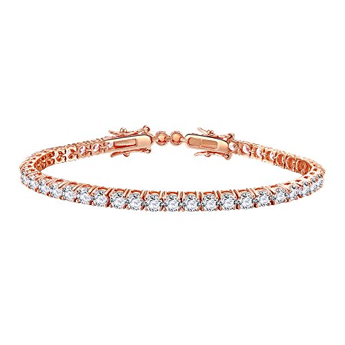 Lavencious Tennis AAA CZ Bracelet Bridal Wedding Evening Party Bling Gold Plated Jewelry for Woman (Rose Gold)