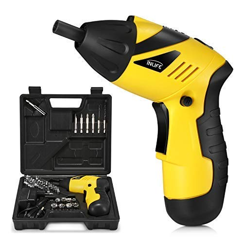 INLIFE Electric Cordless Screwdriver Set, Rechargeable Drill/Driver Kit 4.8V 800mAh Li-ion MAX Torque 6N.m Screw Power Gun with 34 Screw-driver Bits ()