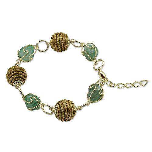 NOVICA Green Agate 18k Gold Plated Link Bracelet, 7.5
