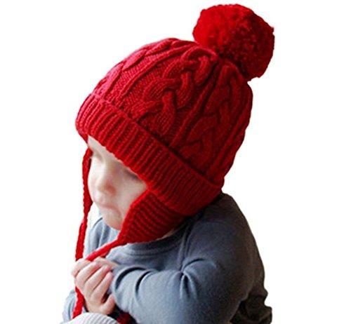 Baby Boys Girls Warm Earflap Knitted Wool Hat Winter Beanie Twist Braids Pom-Pom Hat Cap (Red) (Wool Beanie Earflap)