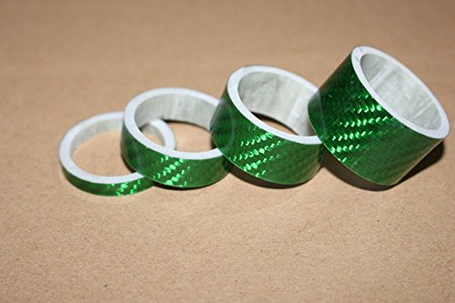 """XH 4PCS Bicycle Full Carbon Headset Spacer Carbon Fiber Gasket 1-1/8"""" 20/15/10/5mm Green"""