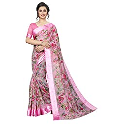 PERFECTBLUE Women's Blend Linen Saree with Unstitched Blouse Piece