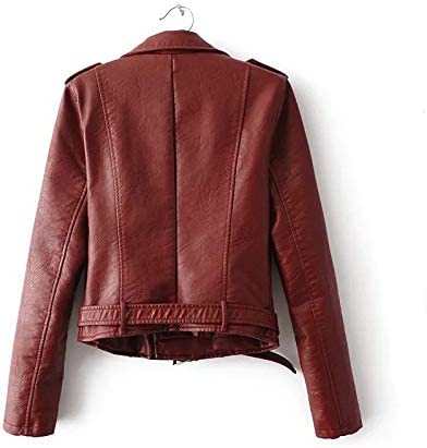 Buy and buy at Brandon Women\'s Pu Leather Women - Zipper Motorcycle Jacket - Autumn Winter Jacket WomenWine redL