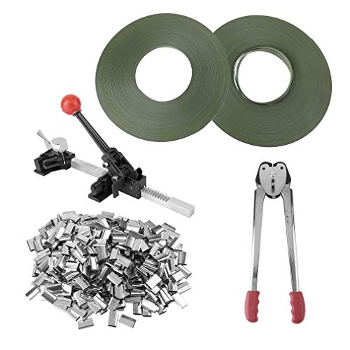 Strapping Tool Complete Kit with Metal Seal Poly Strap Banding Roll Supply Set Strapping Tensioner Packing Machinery (Tool Pneumatic Strapping)