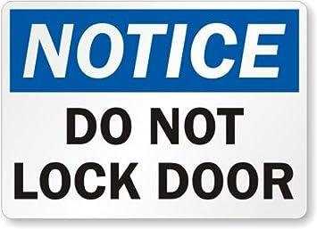 Amazoncom Notice Do Not Lock Door Sign 24 x 18 Garden Outdoor