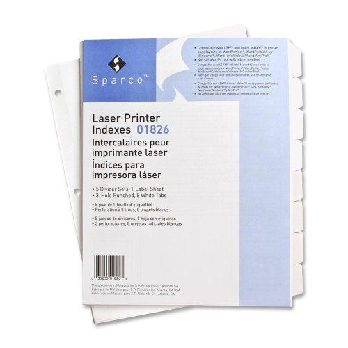 Sparco Laser Printer Indexing System - SPR01826 - Sparco Punched Laser Index Divider