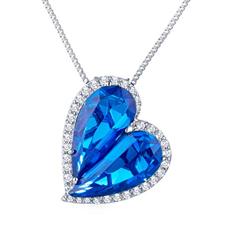 - Blue Crystal Heart Pendant Necklace with 2 Separated Rhinestone Love Heart of Ocean Necklace for Women Girl