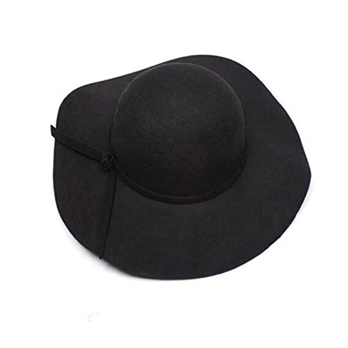 Hemlock Bowler Fedora Hat, Women Girls Caps Wide Brim Hats Lady Floppy Hats (Black)
