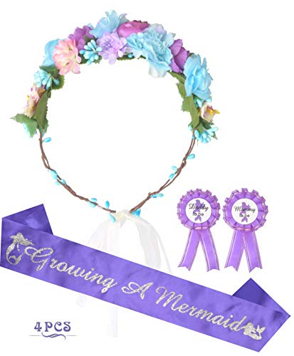 Mermaid Baby Shower (Mother to Be Flower Crown Purple Set, Growing a Mermaid Sash and Mommy to be Pin, Dad to Be Pin, Purple Baby Shower Party Favors Decorations Gift for)