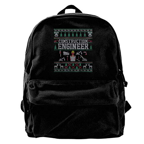 Price comparison product image AUUOCC Construction Engineer Christmas Sweater Canvas Shoulder Backpack Limited Edition Premium UniqueHallowmas School Backpack for Men & Women Teens College Travel Daypack Black Best