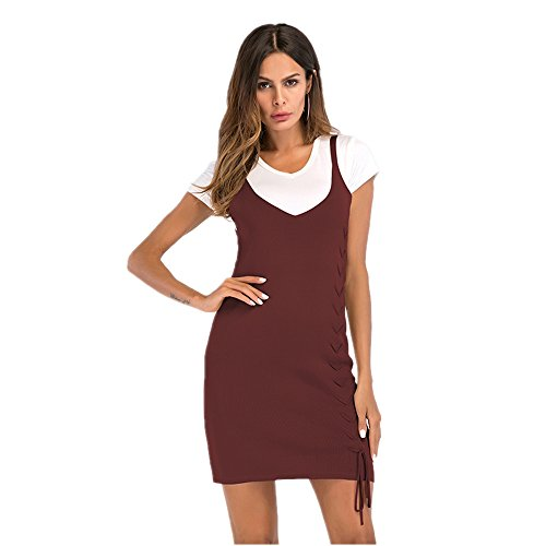 Forfait V-Neck pour femmes Hip Pure Color Strap Dames Jupe (Color : Apricot, Size : L) Wine Red