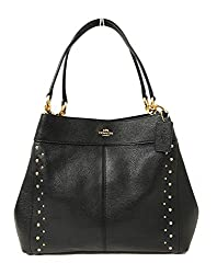Coach F57545 Lexy Pebble Leather Shoulder Bag Im Studded Black