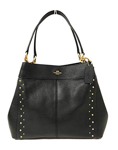 Coach F57545 Lexy Pebble Leather Shoulder Bag (IM/Studded Black)