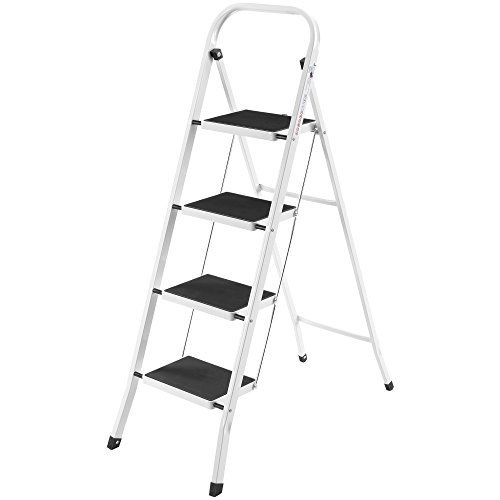 VonHaus Steel Folding Portable 4 Step Ladder with 330lbs Capacity (Mini Ladder)