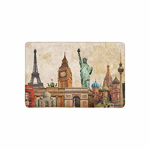 (InterestPrint Vintage World Landmarks Collage of Statue of Liberty Eiffel Tower and Big Ben Doormat Non Slip Indoor/Outdoor Mat Home Decor, Door Mat Entrance Rug Rubber Backing 23.6