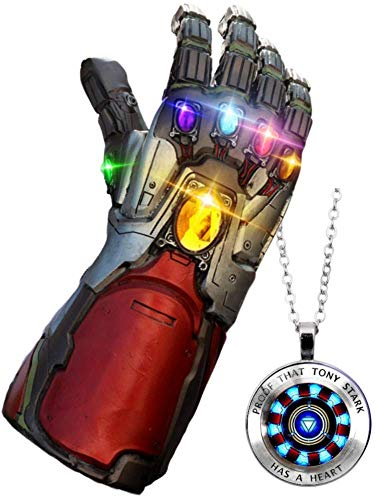 GOPOWR Endgame Iron Man Infinity Gauntlet 2 Replica Snap LED Light Up Toy Thanos Latex Glove Superhero Halloween Costume Cosplay w/Tony Stark Necklace Mens Womens Boy Girl Legends (Avengers-Silver)]()