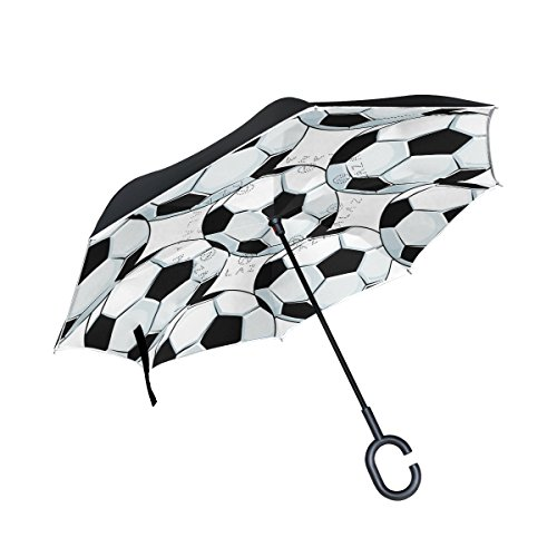 ALAZA Inside Out Folding Abstract Soft Soccer Inverted Umbrella, Large Double Layer Outdoor Rain Sun Car Reversible Umbrella