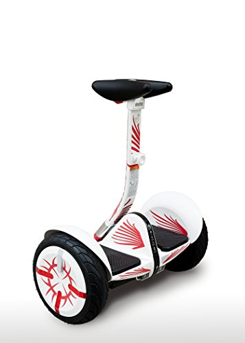 More4Mini Kit for Segway Mini Pro - Flames (Does not Include Segway MiniPro) (White, Knee Controlled Bar) by More4Mini