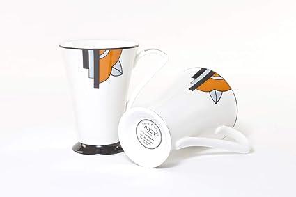 Attractive Pair Of Art Deco Fine Bone China Mugs In The Ritzy Orange Design Amazon Co Uk Kitchen Home