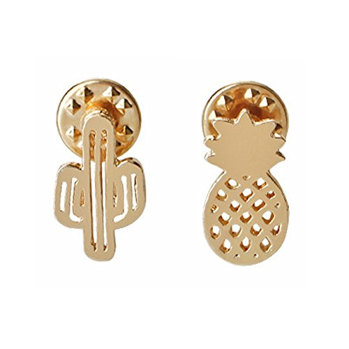 el Brooch Pins Set for Unisex Child Women's Clothing Decorate (Golden Cactus Pineapple Set) ()