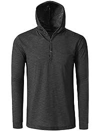 JD Apparel Mens Hipster Lightweight Henley Neck Hoodies Sweatshirts