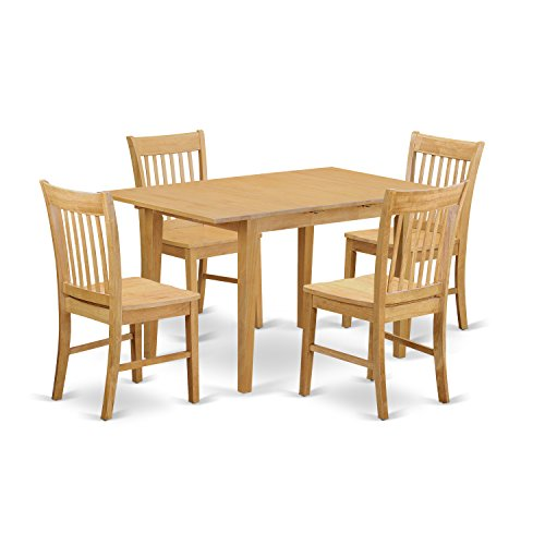 Wooden Dining Table Set - East West Furniture NOFK5-OAK-W 5-Piece Dinette Table Set