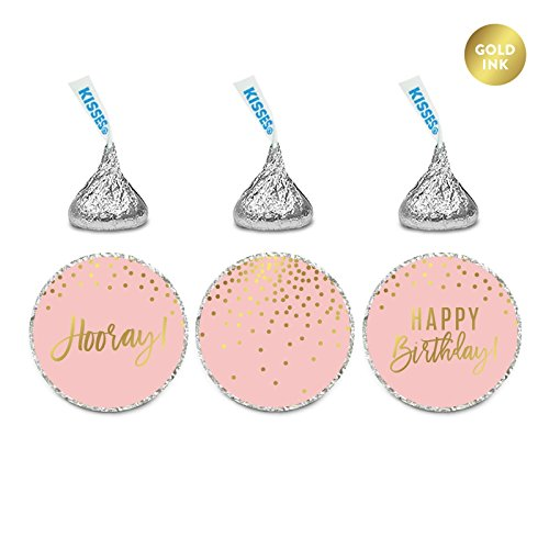 Andaz Press Blush Pink and Metallic Gold Confetti Polka Dots Birthday Party Collection, Chocolate Drop Label Stickers, Happy Birthday!, 216-Pack, Fits Hershey's Kisses