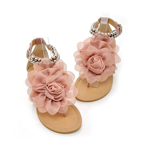 Oppicong Sneakers 2016 Sandals for Women Bohemia Beaded Summer Flower Flat Heels Flip Flops T straps Sandals Pink75 B(M) US In Winter - Spanish Meaning Dolce In