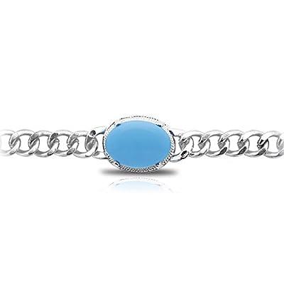JDX Salman Khan Turquoise Sliver Brass Bracelet for Men