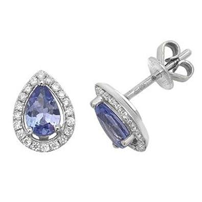 4d89a97660e Diamant et tanzanite Halo Boucles d oreille à tige en forme de poire Or  blanc