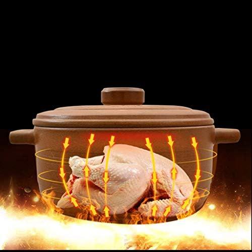 WZF Casserole Pot de Soupe ménage épaississement Grande capacité Pot de Viande ragoût à Haute température Casserole de Bouillie Non émaillée 2.6L