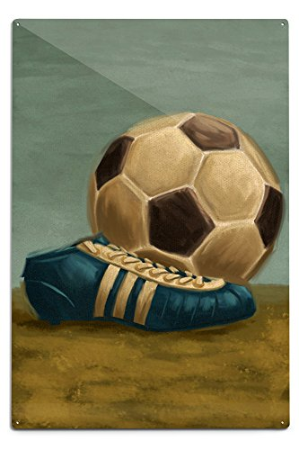 Lantern Press Soccer Ball and Cleat - Oil Painting (12x18 Aluminum Wall Sign, Wall Decor Ready to Hang)