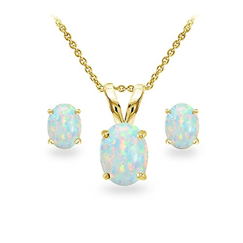 GemStar USA Yellow Gold Flashed Sterling Silver Simulated White Opal Oval-cut Solitaire Necklace and Stud Earrings Set - Gold Oval Opal Earrings