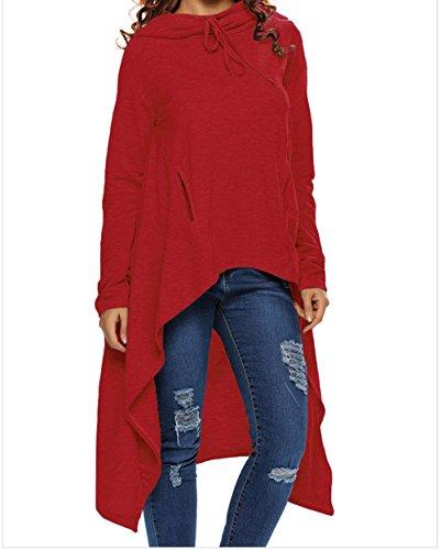 FQHOME Womens Burgundy Plain Drawstring Irregular Oversize Hoodie Size L