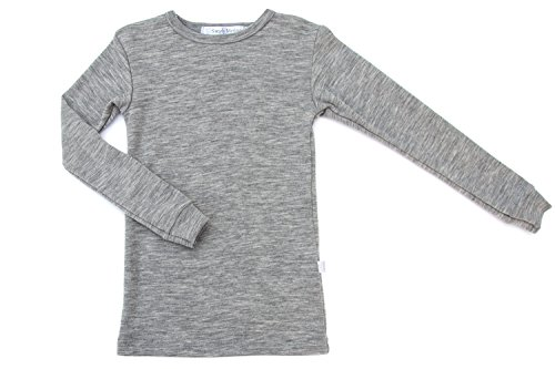Pure Merino Wool Kids Thermal Top. Base Layer Underwear Pajamas. Grey 7-8 Yrs