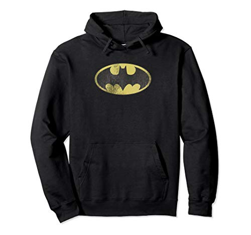 Batman Retro Bat Logo Distressed Pullover Hoodie ()