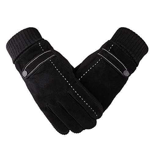 Andyshi Touch Screen Leather Gloves Men's Winter Thickening Plus Velvet Super Warm Skid Pigskin Ski Waterproof Windproof Riding Motorcycle Glove (Black)
